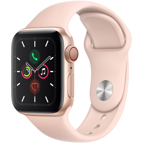 Apple Watch Series 5 (GPS + Cell, 40mm, Gold Aluminum, Pink Sand Sport Band)