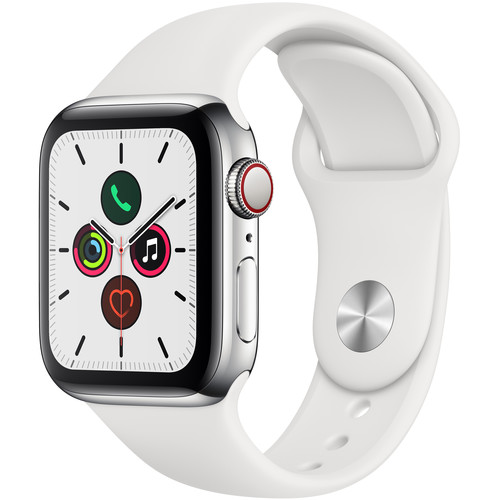 Apple Watch Series 5 (GPS + Cell, 40mm, Stainless Steel, White Sport Band)