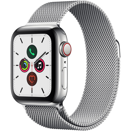 Apple Watch Series 5 (GPS + Cell, 40mm, Stainless Steel, Stainless Steel Milanese Loop)