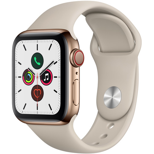 Apple Watch Series 5 (GPS + Cell, 40mm, Gold Stainless Steel, Stone Sport Band)