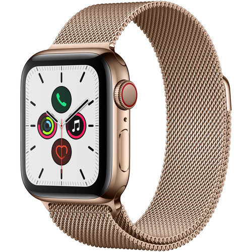 Apple Watch Series 5 (GPS + Cell, 40mm, Gold Stainless Steel, Gold Milanese Loop)