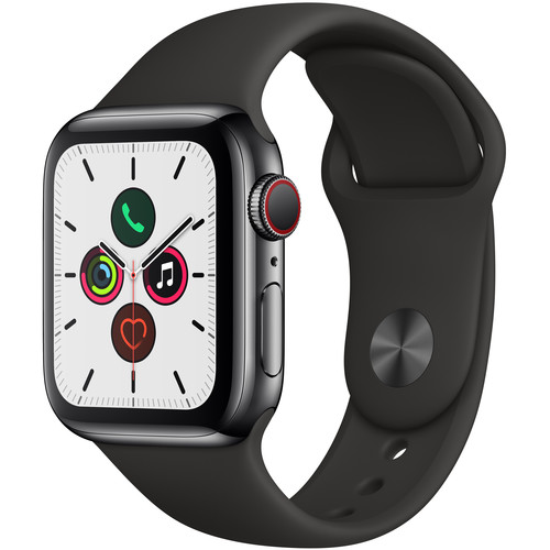 Apple Watch Series 5 (GPS + Cell, 40mm, Space Black Stainless Steel, Black Sport Band)