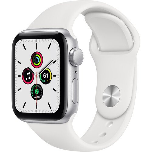Apple Watch SE (GPS, 40mm, Silver Aluminum, White Sport Band)