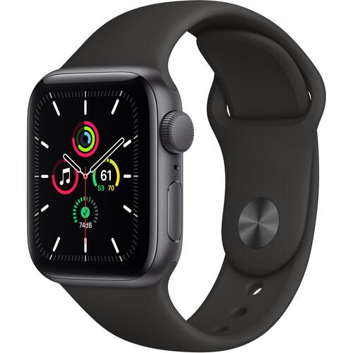 Apple Watch SE (GPS, 40mm, Space Gray Aluminum, Black Sport Band)