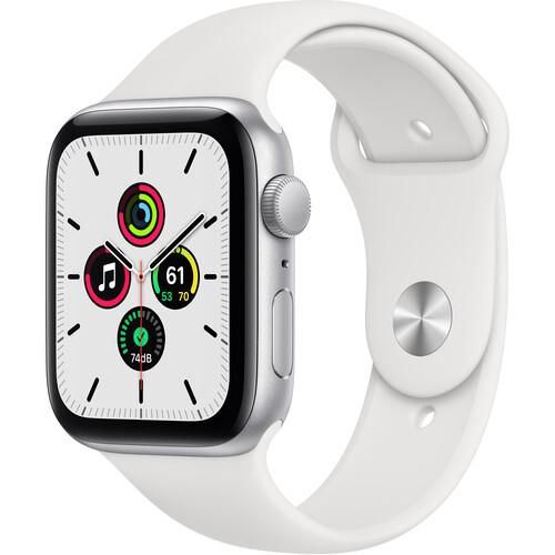 Apple Watch SE (GPS, 44mm, Silver Aluminum, White Sport Band)