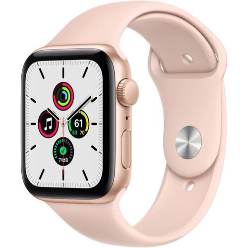 Apple Watch SE (GPS, 44mm, Gold Aluminum, Pink Sand Sport Band)