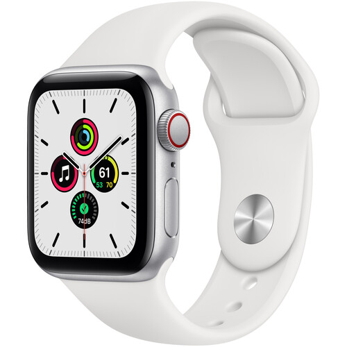 Apple Watch SE (GPS + Cellular, 40mm, Silver Aluminum, White Sport Band)