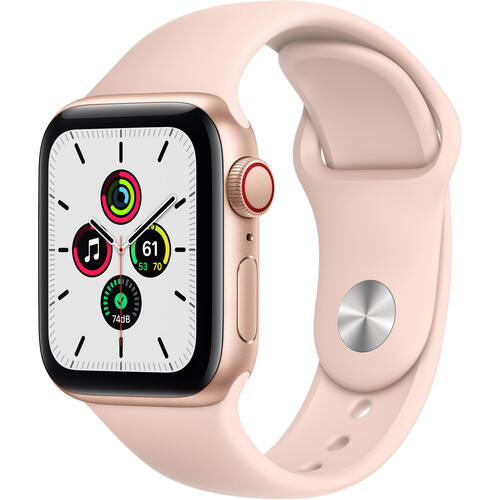 Apple Watch SE (GPS + Cellular, 40mm, Gold Aluminum, Pink Sand Sport Band)