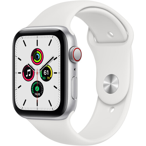 Apple Watch SE (GPS + Cellular, 44mm, Silver Aluminum, White Sport Band)