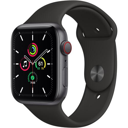 Apple Watch SE (GPS + Cellular, 44mm, Space Gray Aluminum, Black Sport Band)