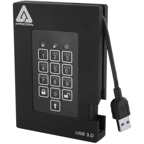 Apricorn 500GB Aegis Padlock Fortress FIPS 140-2 USB 3.0 Hard Drive with PIN Access