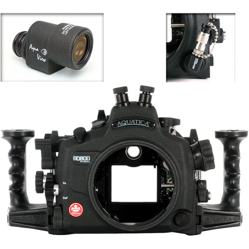 Aquatica AD800 Underwater Housing for Nikon D800 or D800E with Aqua VF and Vacuum Check System (Dual Nikonos Strobe Connectors)