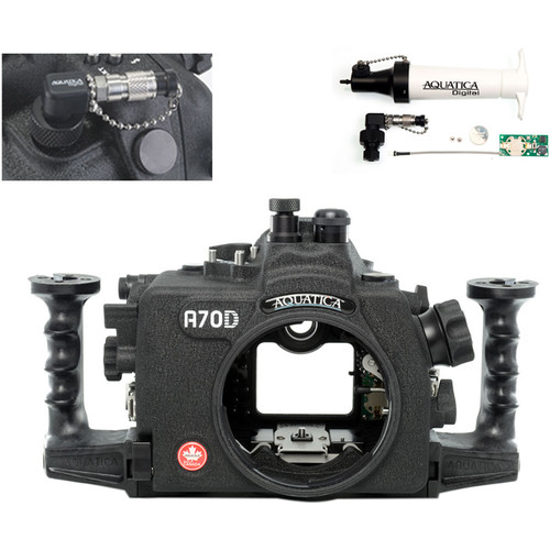 Aquatica A70D Underwater Housing for Canon EOS 70D with Vacuum Check System (Fiber-Optic & Nikonos Strobe Connectors)