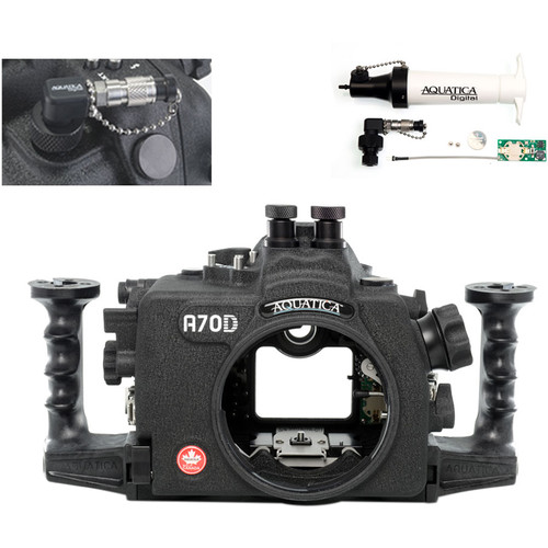 Aquatica A70D Underwater Housing for Canon EOS 70D with Vacuum Check System (Dual Nikonos Strobe Connectors)