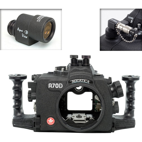 Aquatica A70D Underwater Housing for Canon EOS 70D with Aqua VF and Vacuum Check System (Dual Nikonos Strobe Connectors)