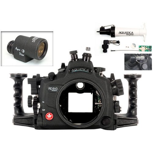 Aquatica AD810 Pro Underwater Housing for Nikon D810 with Aqua VF and Vacuum Check System (Fiber-Optic & Nikonos Strobe Connectors)