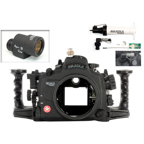 Aquatica AD810 Pro Underwater Housing for Nikon D810 with Aqua VF and Vacuum Check System (Ikelite TTL/Manual Strobe Connector)