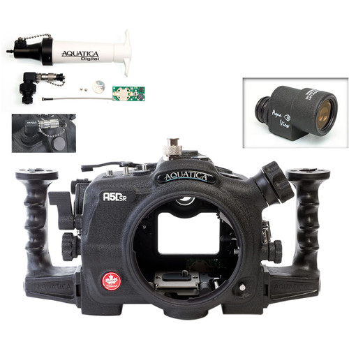 Aquatica A5DSR Pro Underwater Housing for Canon 5Ds, 5Dsr, or 5D Mk III with Aqua VF and Vacuum Check System ( Ikelite Manual Strobe Connector)