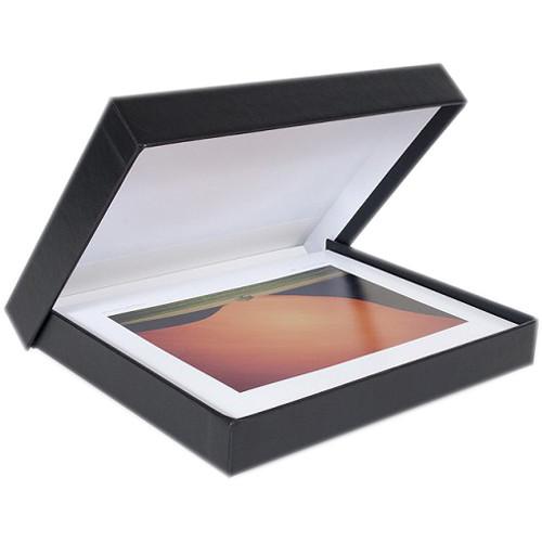 """Archival Methods Onyx Portfolio Box (5 x 7 x 1.4"""", Black Buckram with White Interior)"""