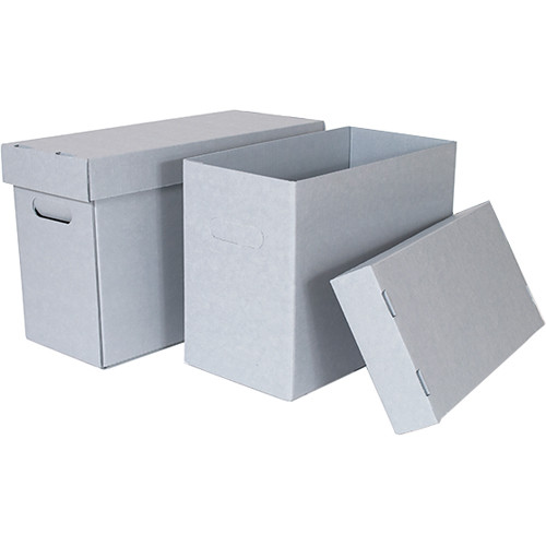 "Archival Methods 10.0 x 12.2 x 6.5"" Pre-Assembled Half Size Record Storage Carton (Blue/Gray)"