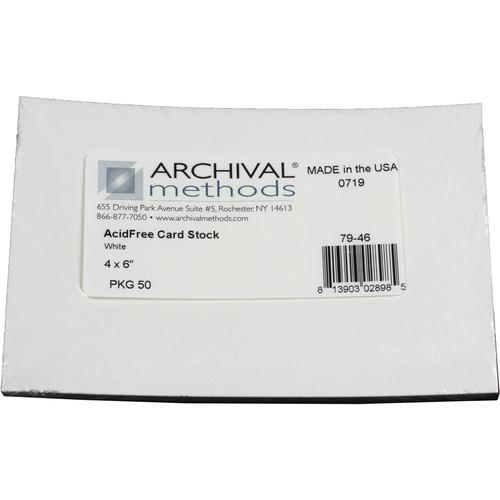 "Archival Methods Acid-Free Card Stock (4 x 6"", 50-Pack, White)"