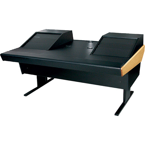 "Argosy 70-70V2R Universal Workstation Desk with 25"" Flat Desk Insert and Two VR1003 Front 10 RU & Rear 3 RU (Oak)"