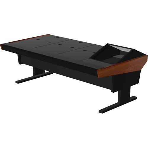 """Argosy V1R Universal Workstation Desk with VR1000 10 Upper Rack Module (Mahogany, 89.5"""")"""