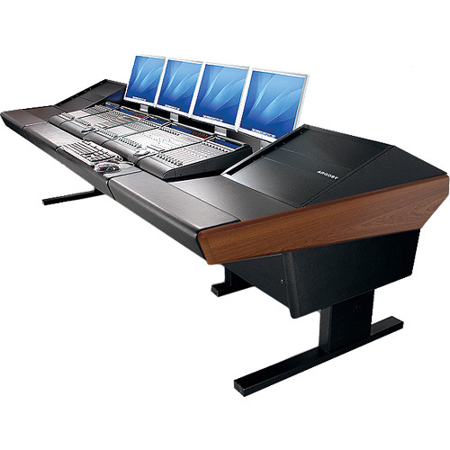 "Argosy V2RG Universal Workstation Desk with Two VR1000 10 Upper Rack Module (Mahogany, 119"")"