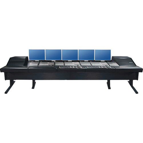 "Argosy V2RGE Universal Workstation Desk with Two VR1003 10U Front, 3U Rear Module (Black, 148.5"")"