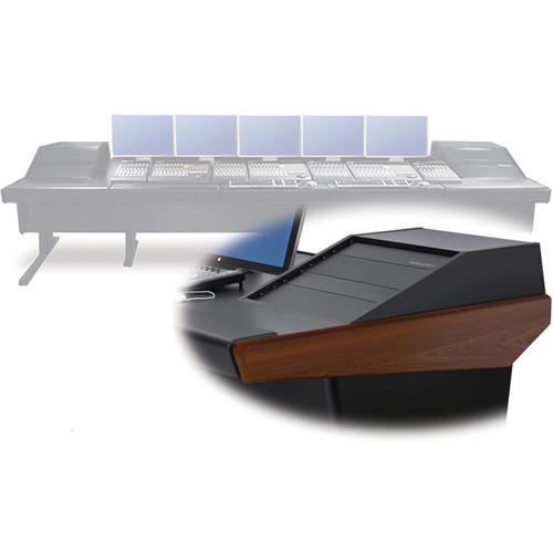 "Argosy V2RGE Universal Workstation Desk with Two VR1003 10U Front, 3U Rear Module (Mahogany, 148.5"")"