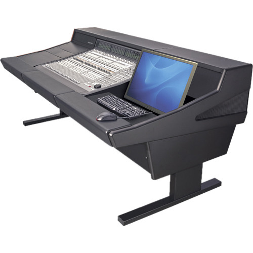 Argosy 90 Series Workstation Desk for Digidesign C|24 Controller with Two Monitor Inserts (Black)