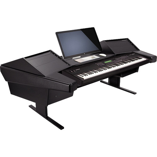 Argosy Dual 15K Keyboard Workstation Desk with DR800 8 Upper RU (Black Finish)