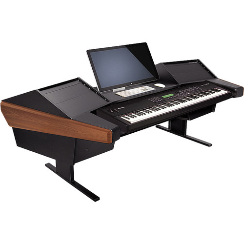Argosy Dual 15K Keyboard Workstation Desk with DR800 8 Upper RU (Mahogany Finish)