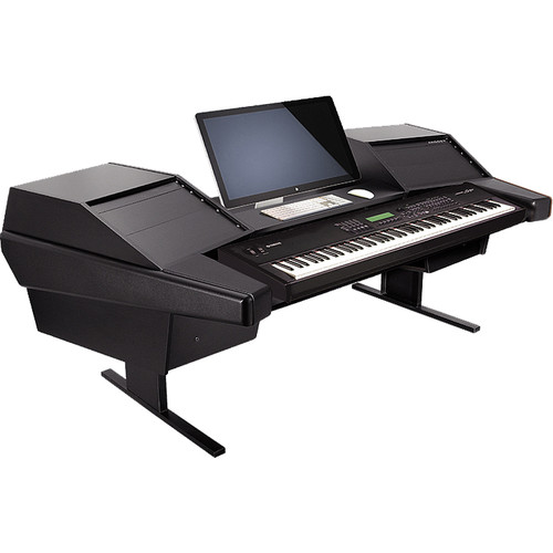 Argosy Dual 15K Keyboard Workstation Desk with DR803 8 Front RU & 3 Rear RU (Black Finish)
