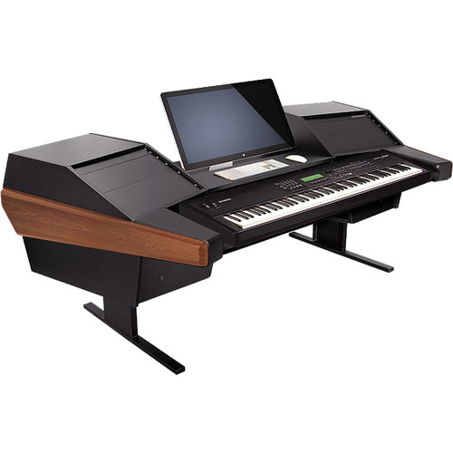 Argosy Dual 15K Keyboard Workstation Desk with DR803 8 Front RU & 3 Rear RU (Mahogany Finish)