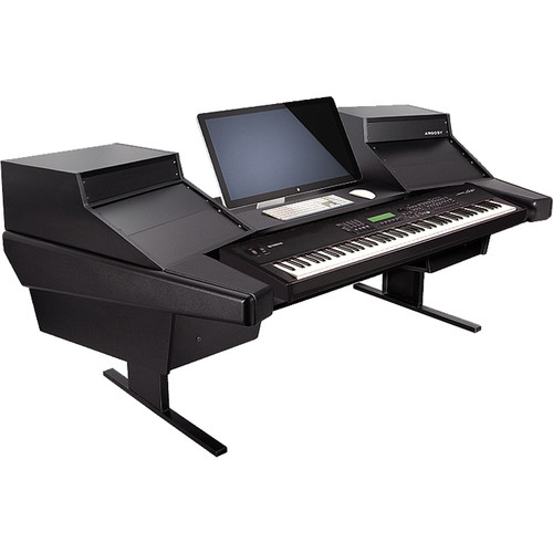 Argosy Dual 15K Keyboard Workstation Desk with DR825 10 Front RU & 5 Rear RU (Black Finish)
