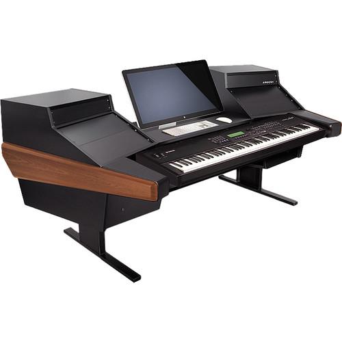 Argosy Dual 15K Keyboard Workstation Desk with DR825 10 Front RU & 5 Rear RU (Mahogany Finish)
