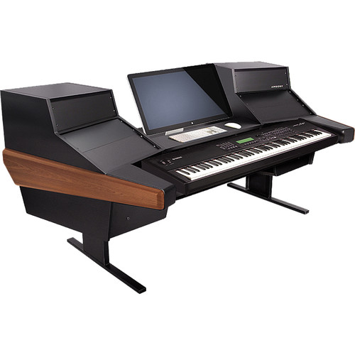 Argosy Dual 15K Keyboard Workstation Desk with DR847 12 Front RU & 7 Rear RU (Mahogany Finish)