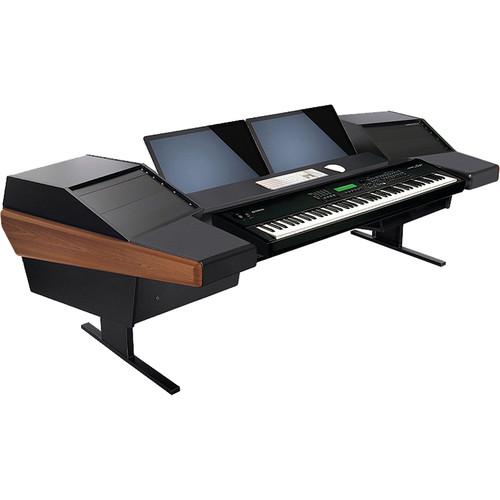Argosy Dual 15KL Keyboard Workstation Desk with DR803 8 Front RU & 3 Rear RU (Mahogany)