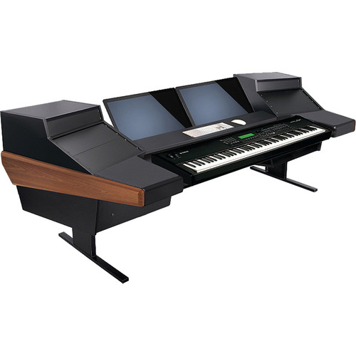 Argosy Dual 15KL Keyboard Workstation Desk with DR825 10 Front RU & 5 Rear RU (Mahogany)