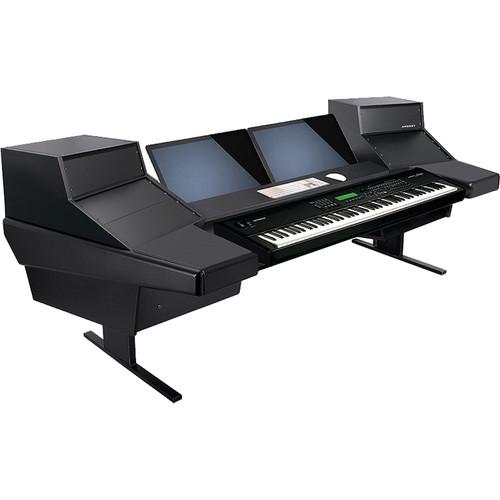 Argosy Dual 15KL Keyboard Workstation Desk with DR847 12 Front RU & 7 Rear RU (Black)