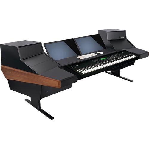 Argosy Dual 15KL Keyboard Workstation Desk with DR847 12 Front RU & 7 Rear RU (Mahogany)