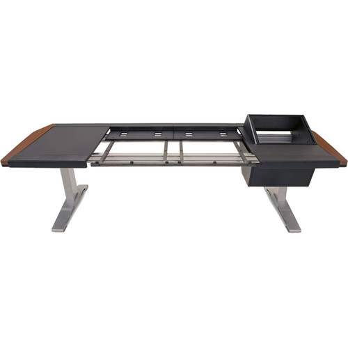 """Argosy Eclipse 2-Bucket Console Workspace for Avid S6 Workstation with Left Side Desk Surface and Right Side 8 RU Mahogany, (53"""")"""