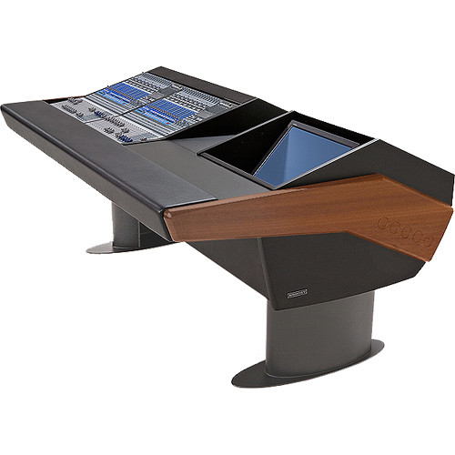 Argosy G20 Desk for Two Presonus StudioLive 16.4.2 Workstations with Monitor Bay (Mahogany Finish, Gunmetal Grey Legs)