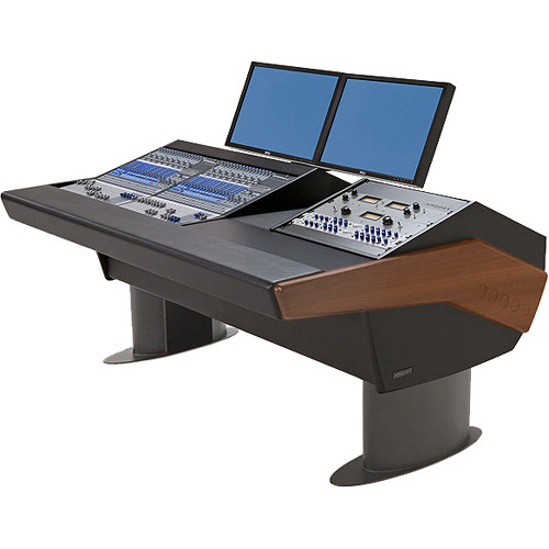 Argosy G20 Desk for Two Presonus StudioLive 16.4.2 Workstations with 9 RU (Mahogany Finish, Gunmetal Grey Legs)