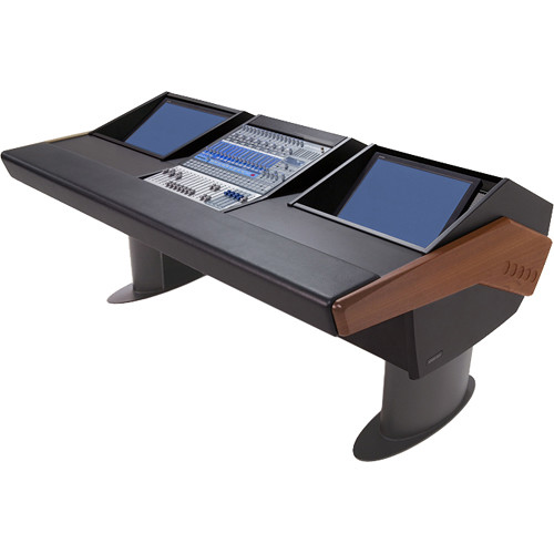 Argosy G20 Desk for Presonus StudioLive 16.4.2 Workstations with Dual Monitor Bay (Mahogany Finish, Gunmetal Grey Legs)