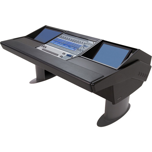Argosy G20 Desk for Presonus StudioLive 24.4.2 Workstation with Dual Monitor Bay (Black Finish, Gunmetal Grey Legs)
