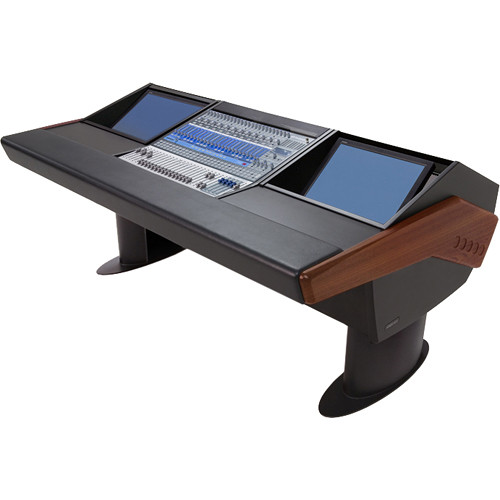 Argosy G20 Desk for Presonus StudioLive 24.4.2 Workstation with Dual Monitor Bay (Mahogany Finish, Black Legs)