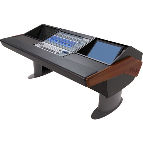 Argosy G20 Desk for Presonus StudioLive 24.4.2 Workstation with 6 RU and Monitor Bay (Mahogany Finish, Gunmetal Grey Legs)