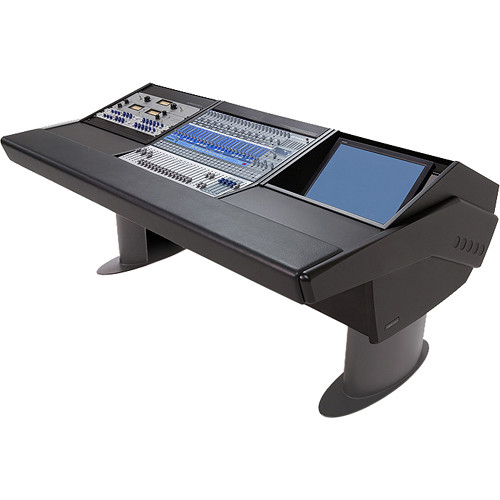 Argosy G20 Desk for Presonus StudioLive 24.4.2 Workstation with 9 RU and Monitor Bay (Black Finish, Gunmetal Grey Legs)